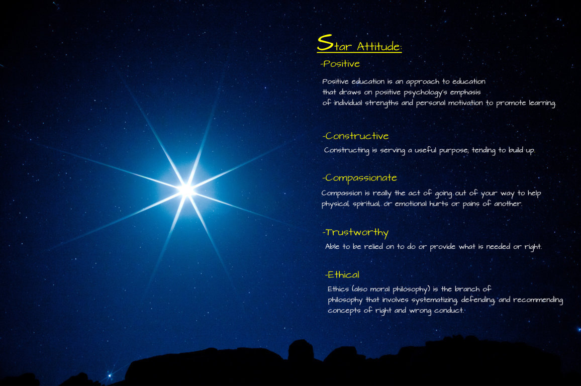 A strong STAR attitude provides the foundation for students' spiritual, intellectual and physical development.